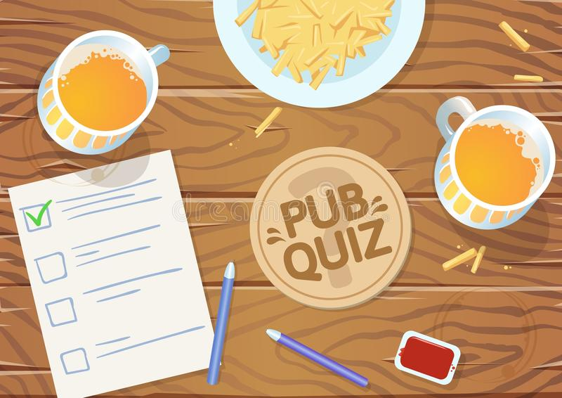 Quiz night in the pub. Wooden pub table with quiz list, fries and beer. Vector illustration. Horizontal stock illustration