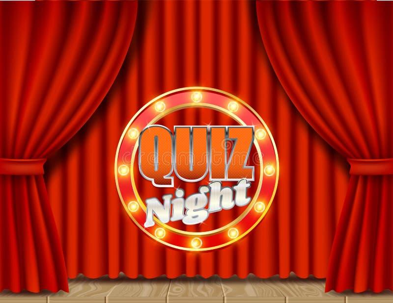 Quiz night retro vector banner poster design template royalty free illustration