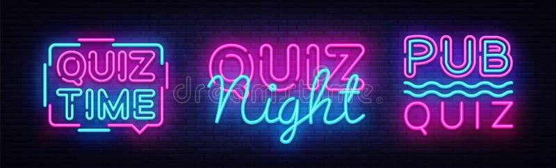 Quiz nocy inkasowego zawiadomienia projekta plakatowy wektorowy szablon Quiz nocy neonowy signboard, lekki sztandar Karczemny qui ilustracja wektor