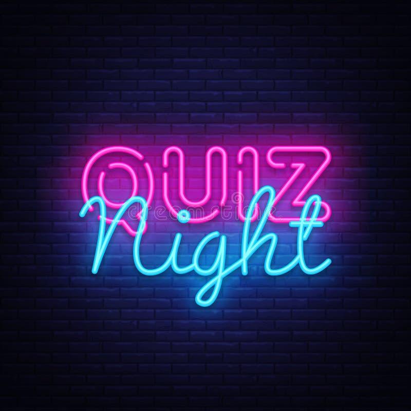 Quiz nocy zawiadomienia projekta plakatowy wektorowy szablon Quiz nocy neonowy signboard, lekki sztandar Karczemny quiz trzymając royalty ilustracja