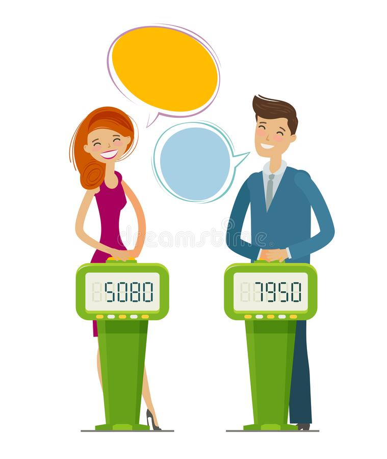 Quiz show, game concept. Players answering questions standing at stand with buttons. Vector flat illustration stock illustration