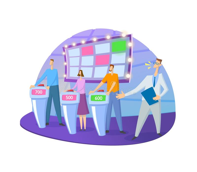 Quiz show TV-studio with host and contestants. Screen, stands and lights. Colorful flat vector illustration. Isolated on. White background vector illustration