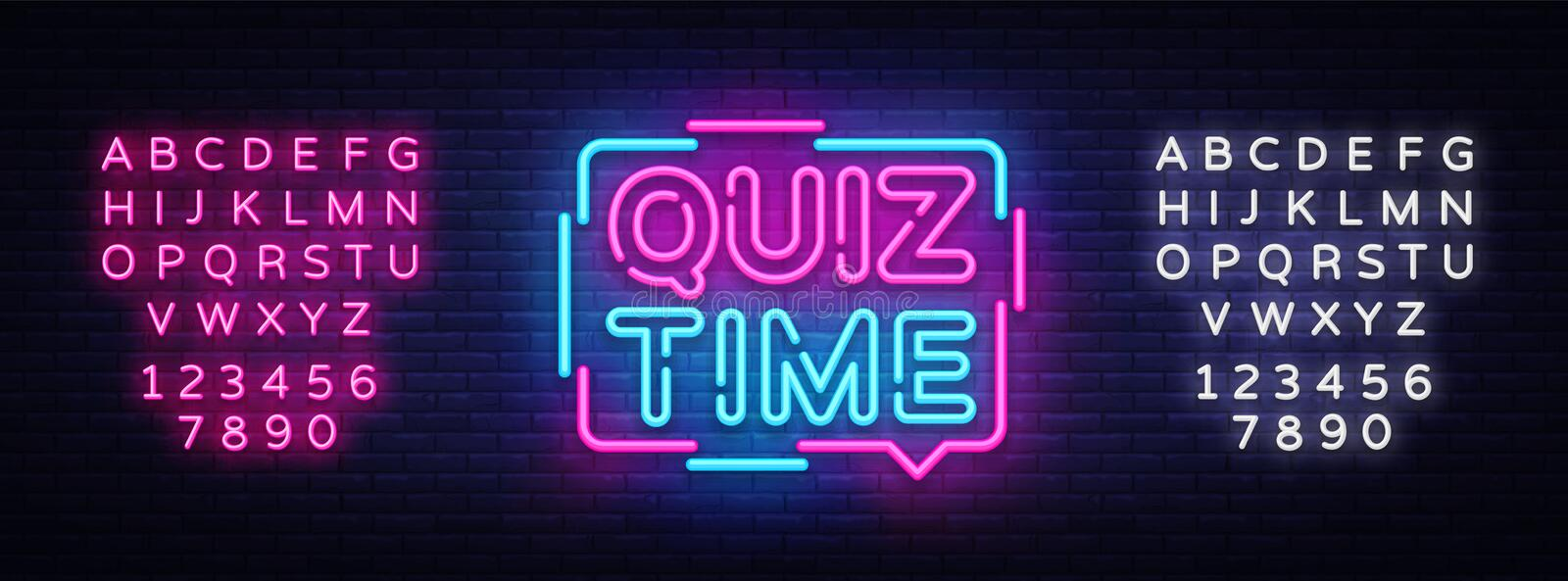 Quiz Time announcement poster neon signboard vector. Pub Quiz vintage styled neon glowing letters shining, Light Banner stock illustration