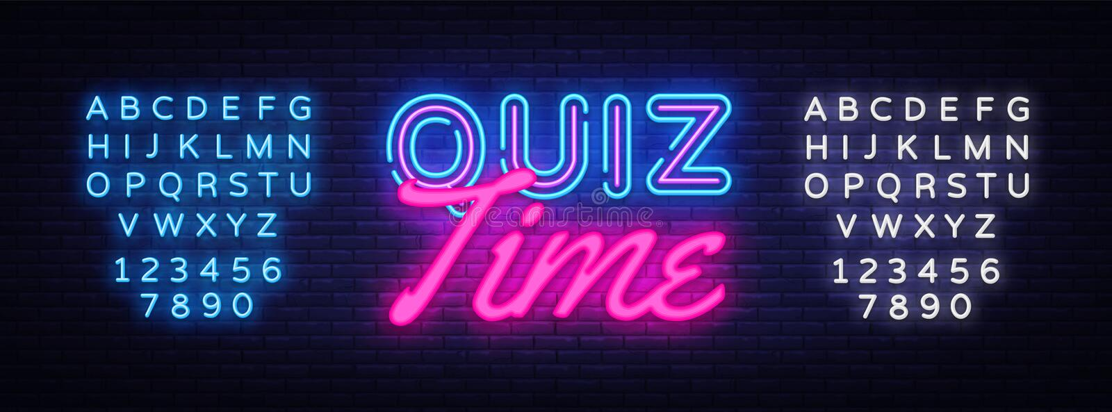 Quiz Time neon sign vector. Quiz Pub Design template neon sign, light banner, neon signboard, nightly bright advertising royalty free illustration