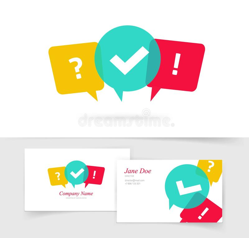 Quiz vector logo business card, questionnaire icon, poll sign, flat bubble speech symbols, concept of social royalty free illustration