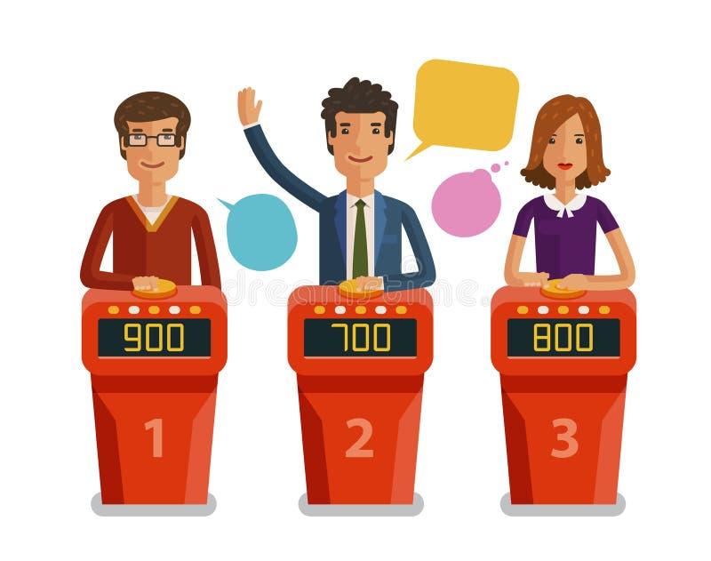 Quizshow, Spielkonzept Spieler, welche die Fragen stehen auf Stand mit Knöpfen beantworten Flache Illustration des Vektors lizenzfreie abbildung