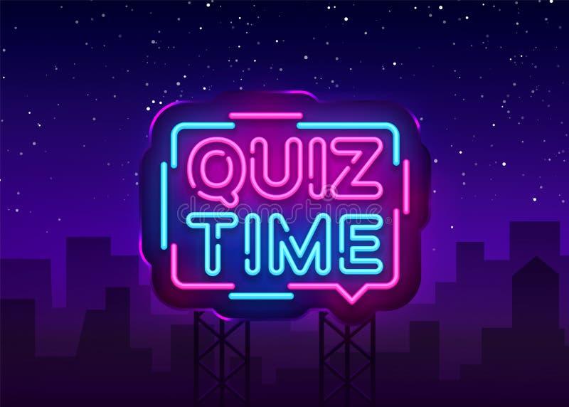 Quizu czasu zawiadomienia signboard plakatowy neonowy wektor Karczemny rocznik projektuję quizu neonowy jarzyć się pisze list jaś ilustracji