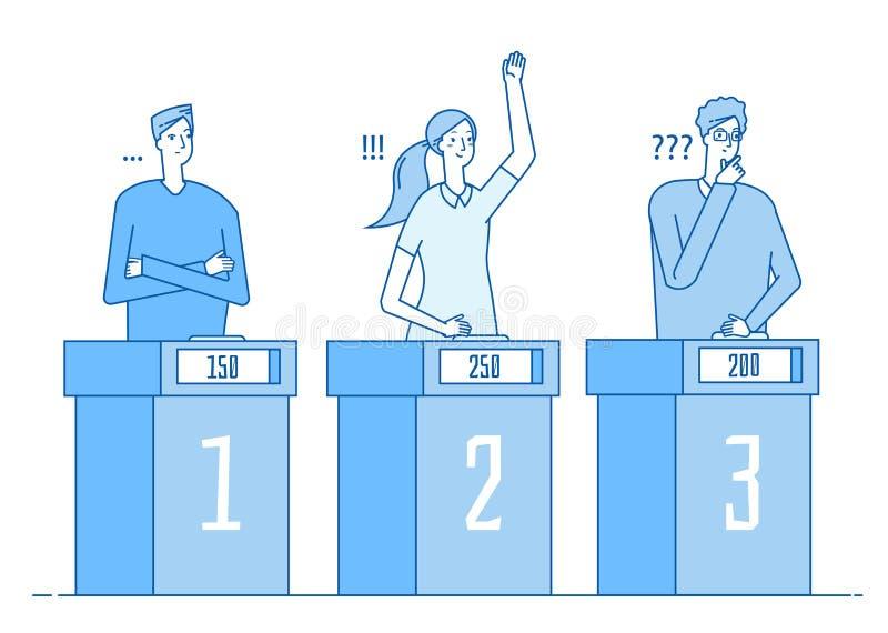 Quizu przedstawienie Mądrzy ludzie błachostka konkursu gemowego programa telewizyjnego z znak zapytania odpowiedzi młodej dziewcz ilustracja wektor