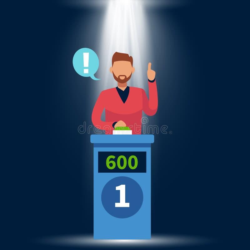 Quizu przedstawienie Trwanie mężczyzna podnosi w górę ręki, odpowiada guzika, pytania, dosunięcia i podium i światła z pojęciem n royalty ilustracja