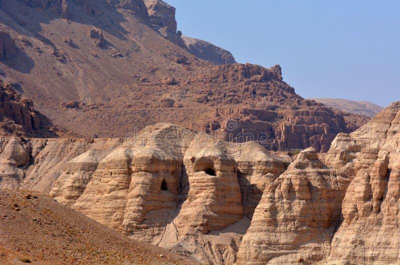 Qumran cava o Mar Morto Israel fotografia de stock royalty free