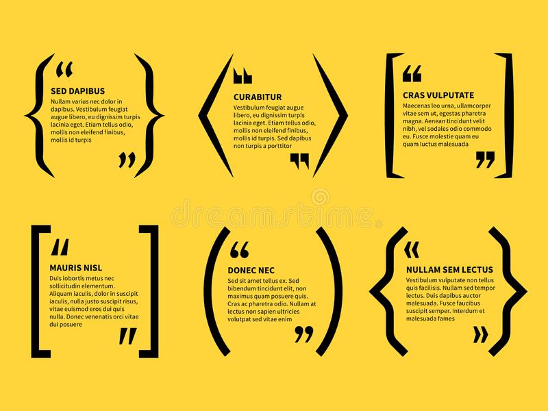 Quotation in brackets. Text in quotes marks, typographic speech bubbles. Note message comment, short opinion. Bracket. Vector templates of forum dialogue stock illustration