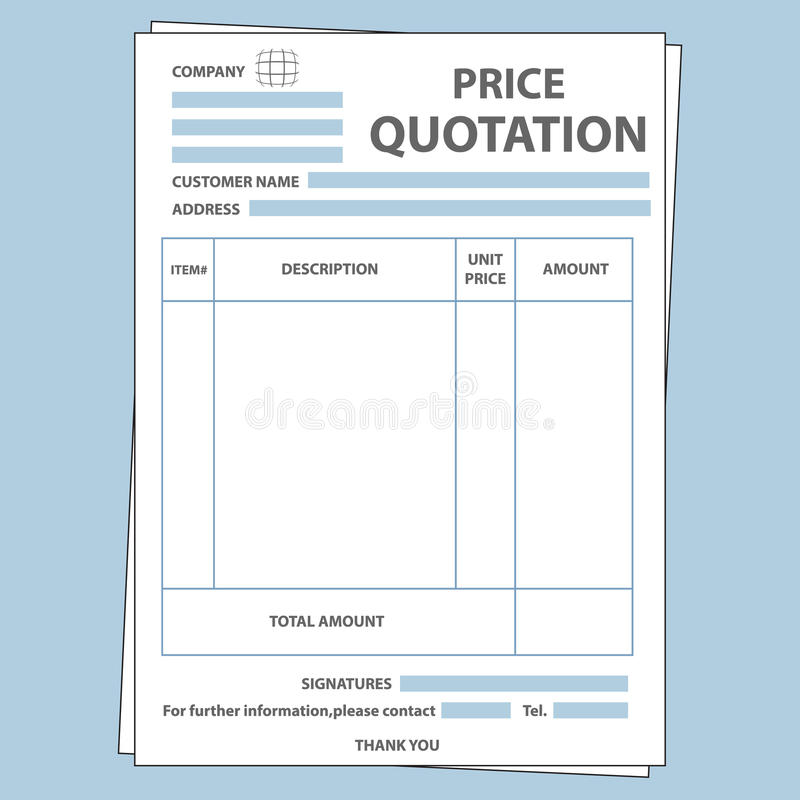 Quotation Form Stock Vector Illustration Of Money Form