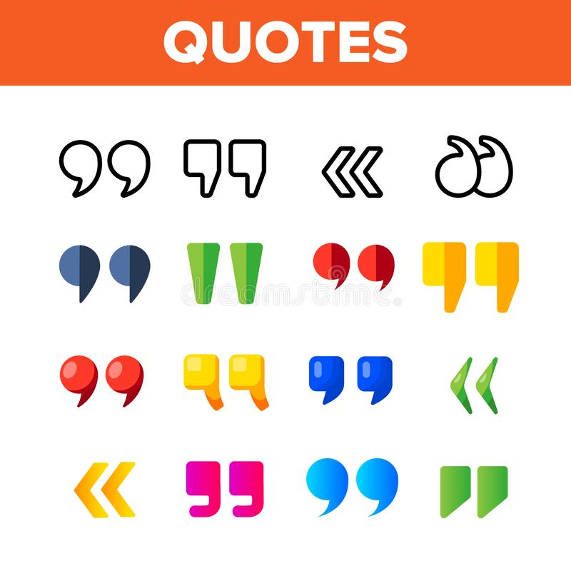 Quotation Marks, Inverted Commas Vector Color Icons Set stock illustration