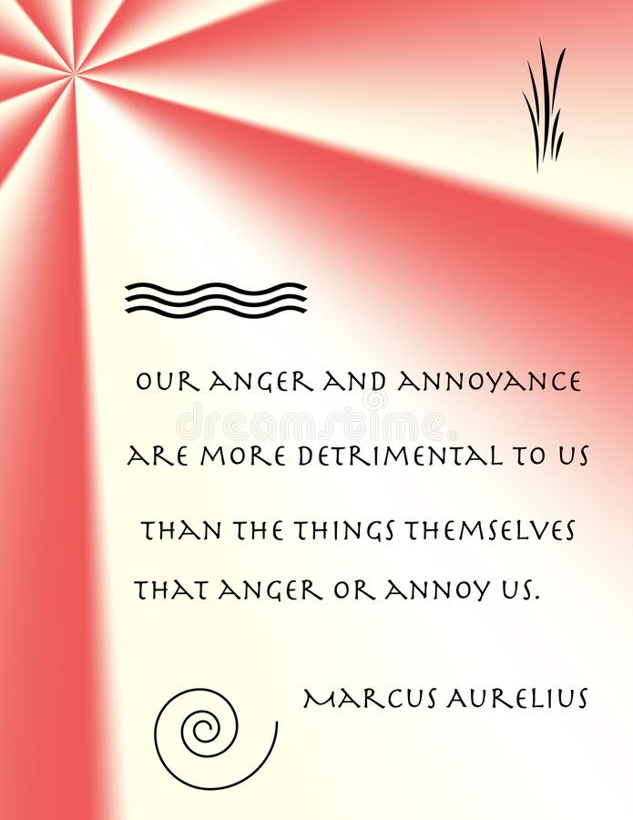 Marcus Aurelius on Anger. A quotation by the stoic Marcus Aurelius in decorative setting stock photos