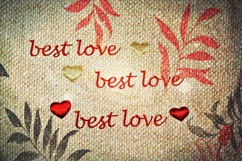 Quotational van de Grunge uitstekende Beste liefde royalty-vrije stock afbeelding