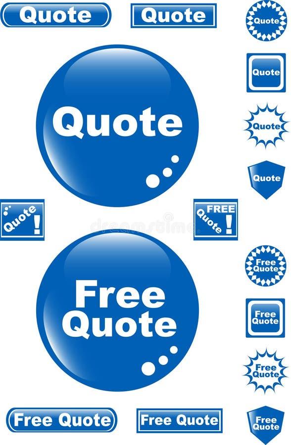 quote иконы голубой кнопки свободный лоснистый иллюстрация вектора