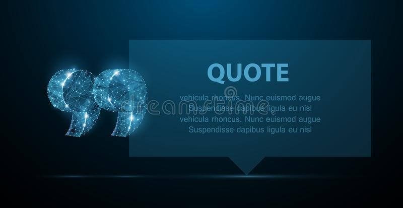 Quote. Abstract modern blank speech bubble with quote marks on dark blue background. stock illustration