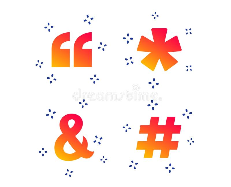 Quote, asterisk footnote icons. Hashtag symbol. Vector. Quote, asterisk footnote icons. Hashtag social media and ampersand symbols. Programming logical operator stock illustration