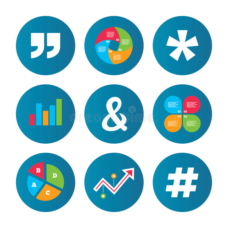 Quote, asterisk footnote icons. Hashtag symbol. Business pie chart. Growth curve. Presentation buttons. Quote, asterisk footnote icons. Hashtag social media and stock illustration