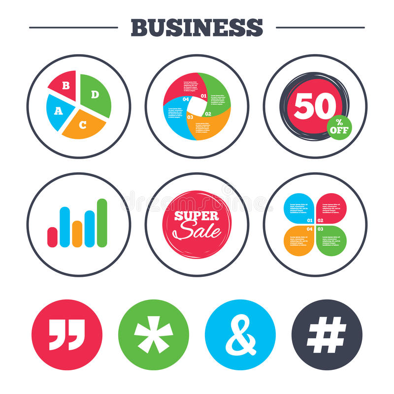 Quote, asterisk footnote icons. Hashtag symbol. Business pie chart. Growth graph. Quote, asterisk footnote icons. Hashtag social media and ampersand symbols stock illustration