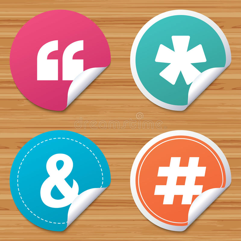 Quote, asterisk footnote icons. Hashtag symbol. Round stickers or website banners. Quote, asterisk footnote icons. Hashtag social media and ampersand symbols vector illustration
