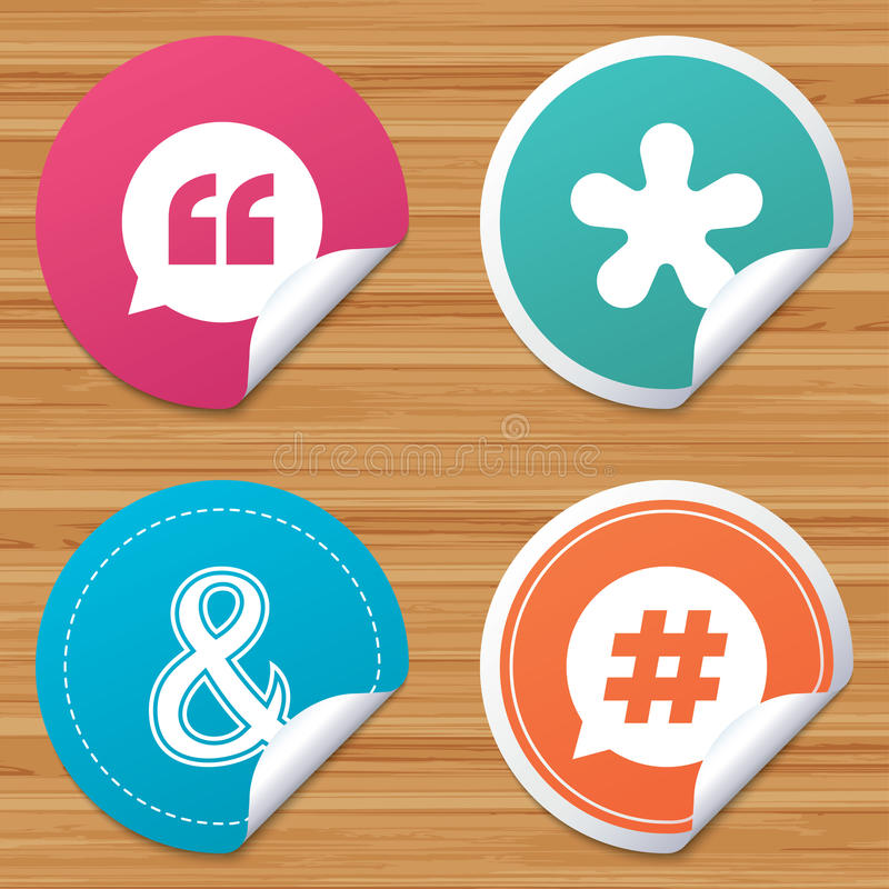 Quote, asterisk footnote icons. Hashtag symbol. Round stickers or website banners. Quote, asterisk footnote icons. Hashtag social media and ampersand symbols royalty free illustration