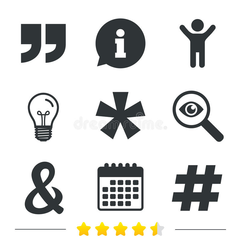 Quote, asterisk footnote icons. Hashtag symbol. Quote, asterisk footnote icons. Hashtag social media and ampersand symbols. Programming logical operator AND royalty free illustration