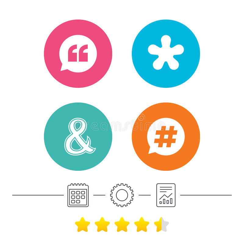 Quote, asterisk footnote icons. Hashtag symbol. Quote, asterisk footnote icons. Hashtag social media and ampersand symbols. Programming logical operator AND stock illustration