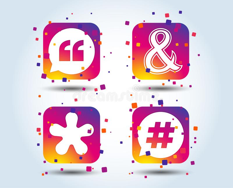 Quote, asterisk footnote icons. Hashtag symbol. Quote, asterisk footnote icons. Hashtag social media and ampersand symbols. Programming logical operator AND vector illustration