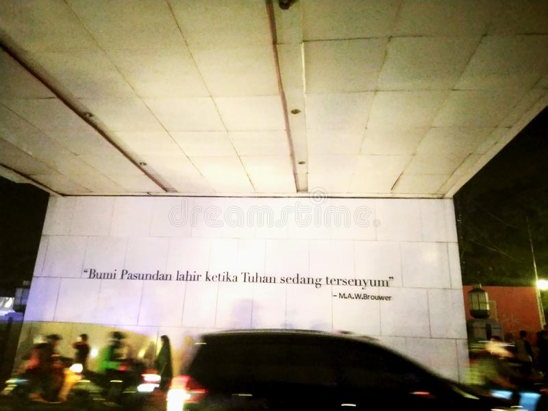 A Quote In Bandung City. In Bandung city they have a popular quote. Is called `In Pasundan Earth Born Since The God Smile royalty free stock images