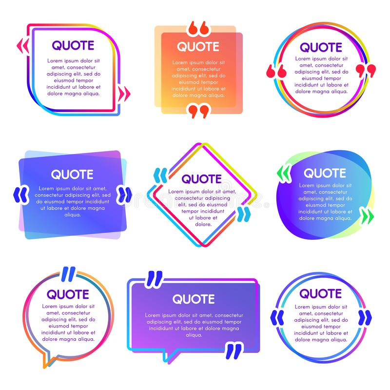 Quote box frame. Mention text frames, remark speech bubble and sentences quotes words boxes vector set stock illustration