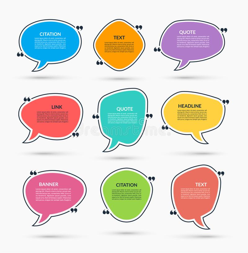 Quote box. Vector set of speech bubbles, text frames. Can be used for statement, citation, message, quotation stock illustration