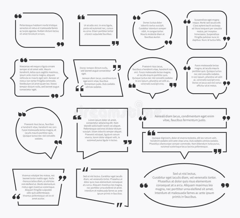 Quote boxes. Quotation sentence box design, idea paragraph marks comment sentencing mention description bubbles with commas set. Quote boxes. Quotation sentence royalty free illustration