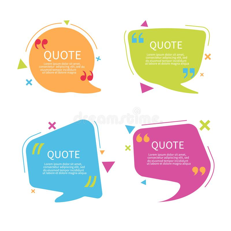 Quote bubble box template with text. Speech bubble with quote in flat style.Text box with frame. Geometric template sticker. Vector illustration vector illustration