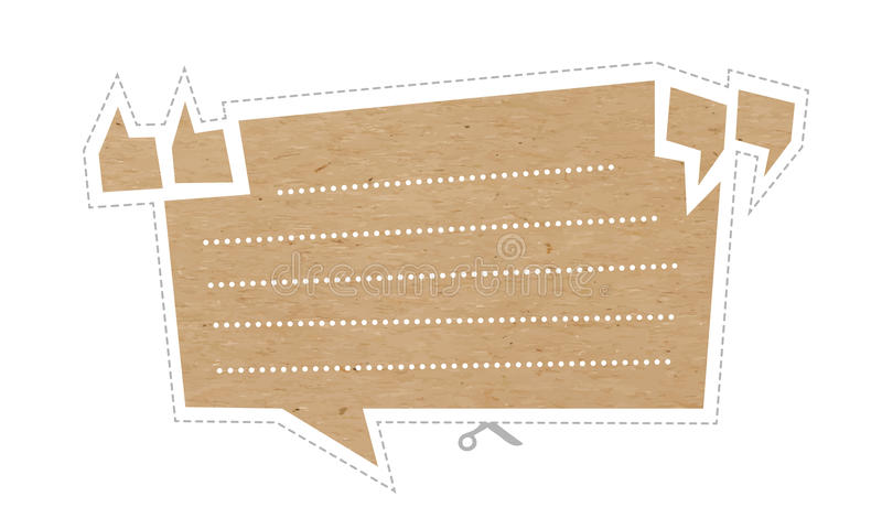 Quote bubble on cardboard vector illustration
