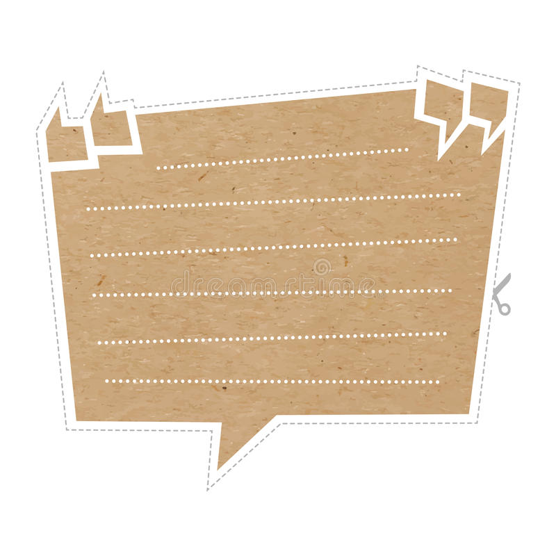 Quote bubble on cardboard stock illustration