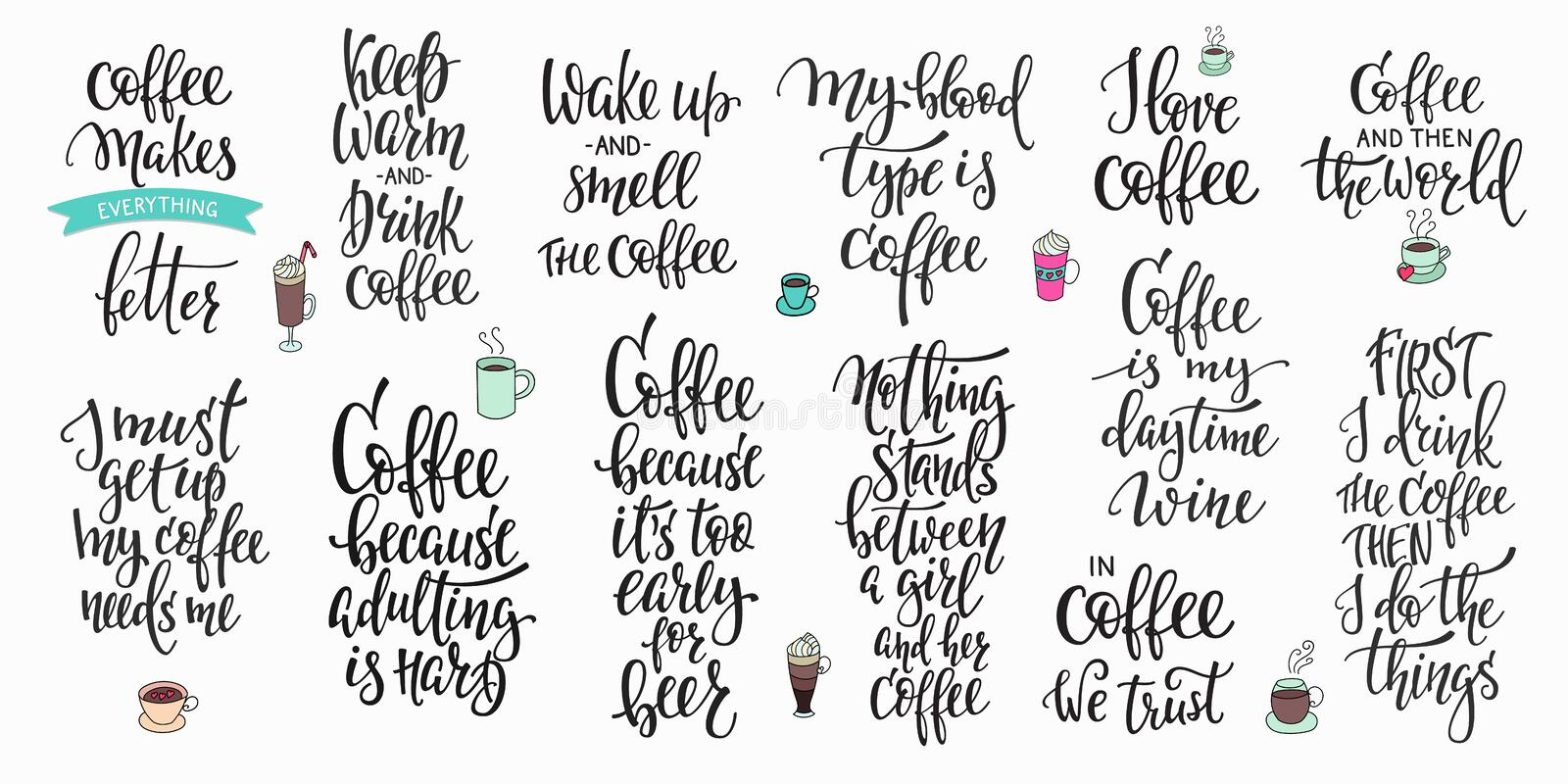 Quote coffee cup typography set vector illustration