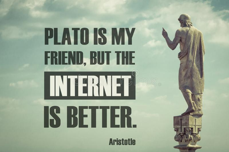 Quote of the famous ancient philosopher Aristotle stock image