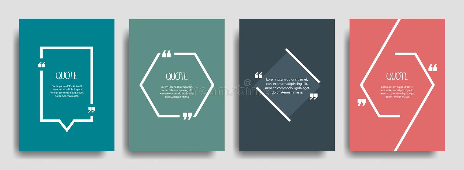 Quote frames blank template set. Blank template for your text, speech quotes in an empty bubble. Vector illustration.  stock illustration