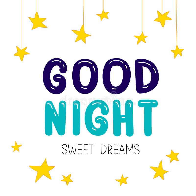 Quote Good night. Sweet Dreams. vector illustration