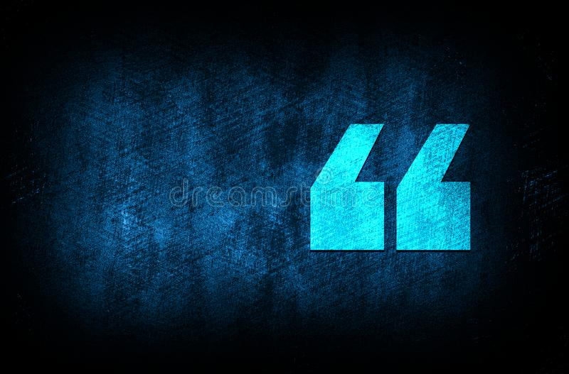Quote icon abstract blue background illustration digital texture design concept. Quote icon abstract blue background illustration dark blue digital texture royalty free illustration