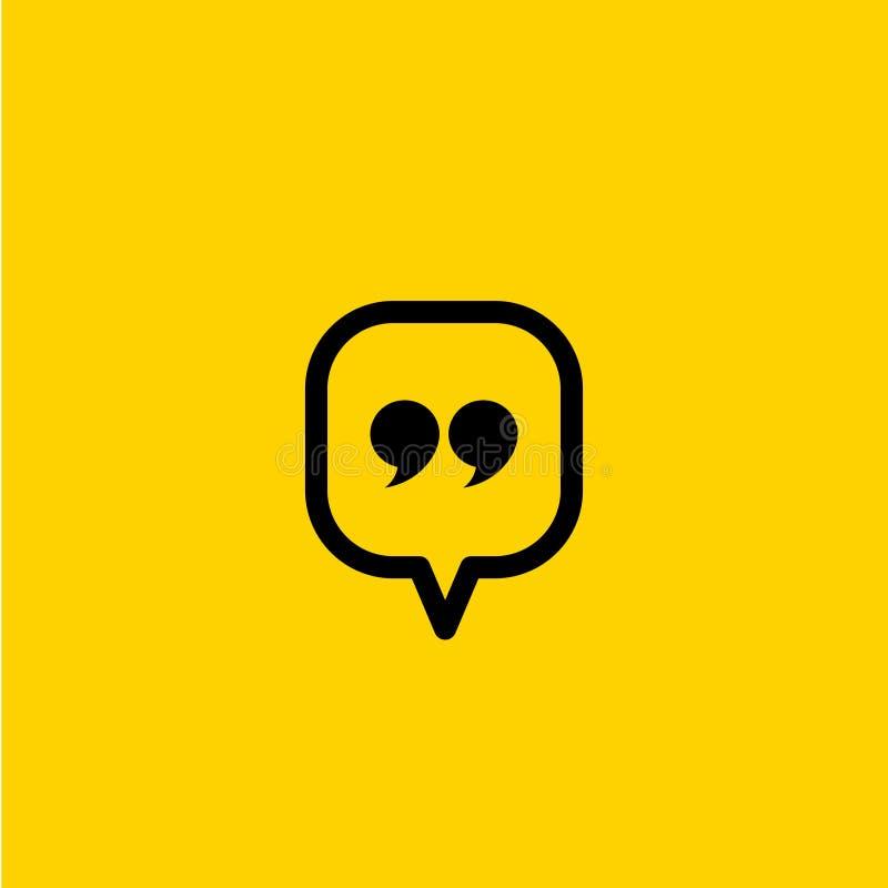 Quote icon. Quotation paragraph symbol. double comma mark. bubble dialogue speech sign. vector illustration vector illustration