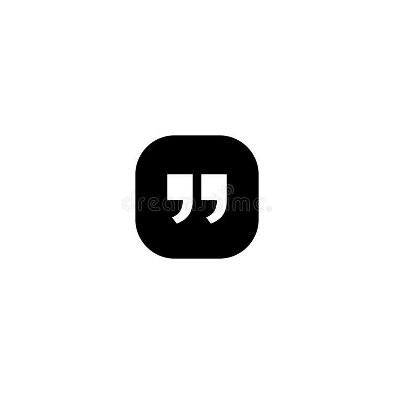 Quote icon. Quotation paragraph symbol. double comma mark. bubble dialogue speech sign. vector illustration.  vector illustration