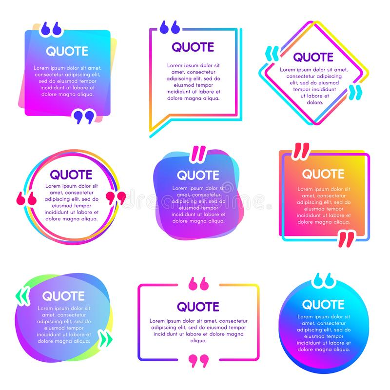 Quote info box. Text remark frame, quotes reference label and texting dialogue words excerpt frames boxes vector set. Quote info box. Text remark frame, quotes royalty free illustration