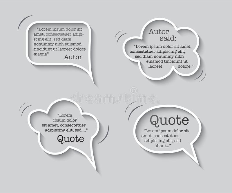 Quote inside speech bubble templates. Quotes and speech boxes isolated on gray background. Vector design element set. royalty free illustration