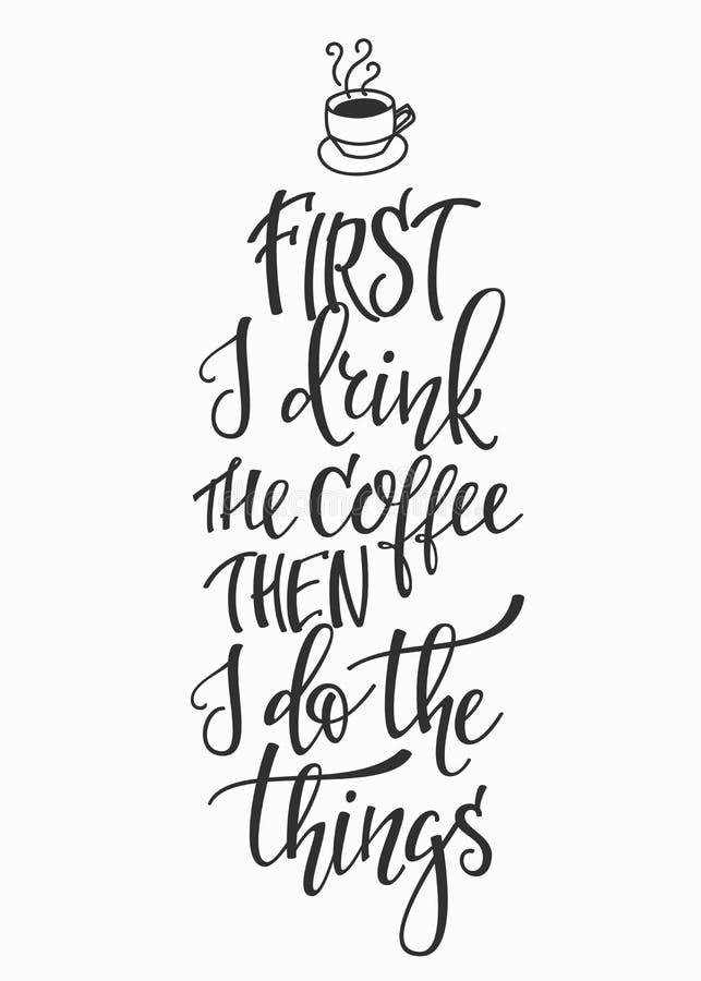 Quote love coffee typography stock illustration