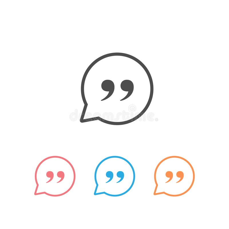 Quote Mark Set Icon Symbol Vector Illustration isolated vector illustration