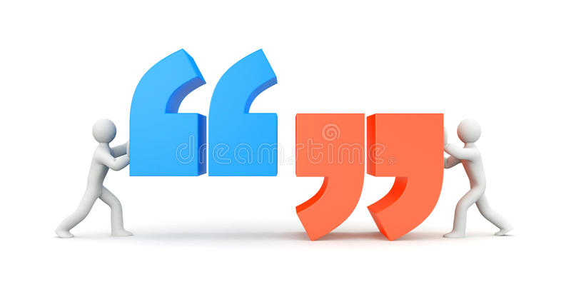 Quote. People and quote symbol royalty free illustration