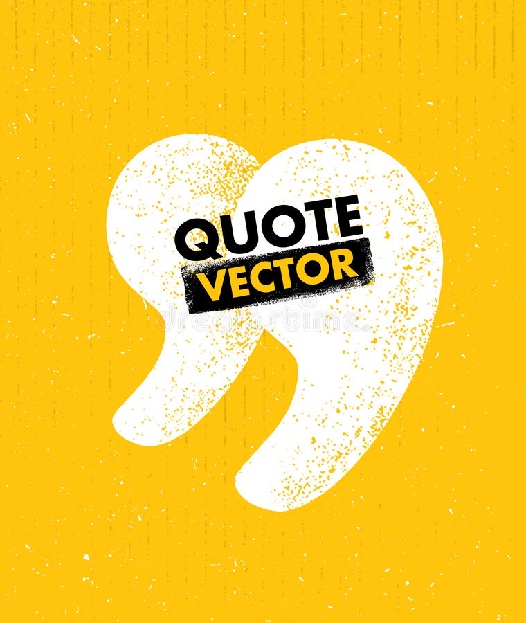 Quote sign icon. Quotation mark rough vector illustration royalty free illustration