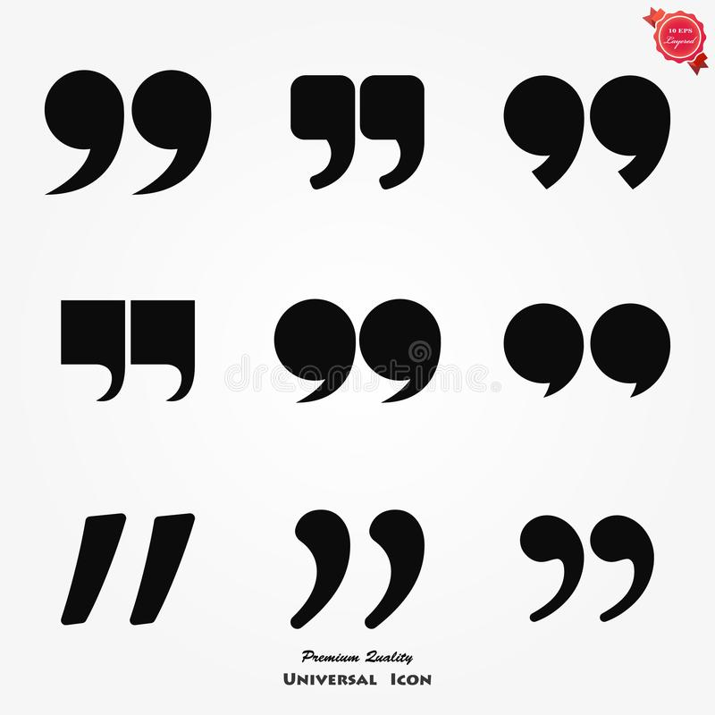 Quotes icon, quotation mark isolated symbols, vector illustration. stock images
